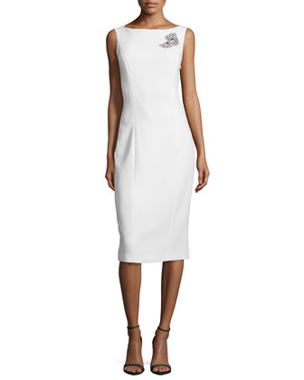 Sleeveless Sheath Dress W/Embellished Brooch, White