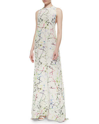 Regi Aquarella-Print Maxi Dress, Multicolor