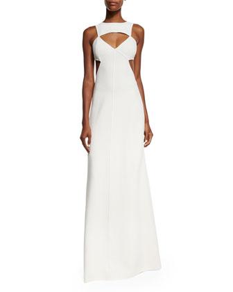 Sleeveless Cutout Gown, White