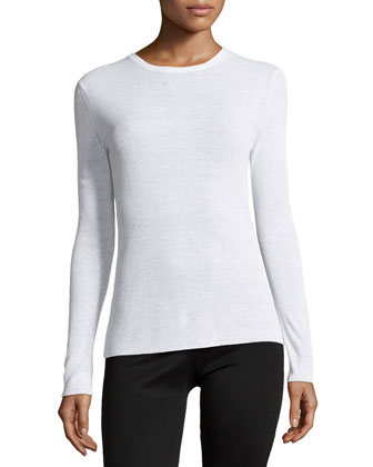 Skinny-Ribbed Long-Sleeve Top, White