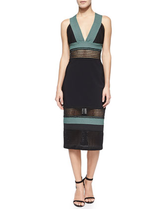 Scalloped Knit Pencil Dress, Black/Green