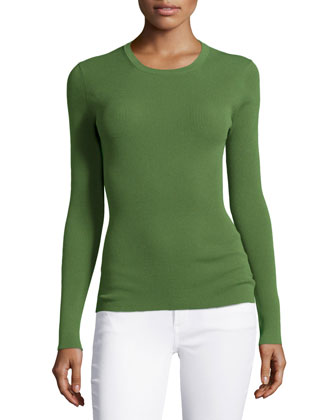 Long-Sleeve Fitted Top, Grass