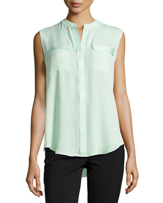 Avanti Patch-Pocket Sleeveless Blouse, Dew