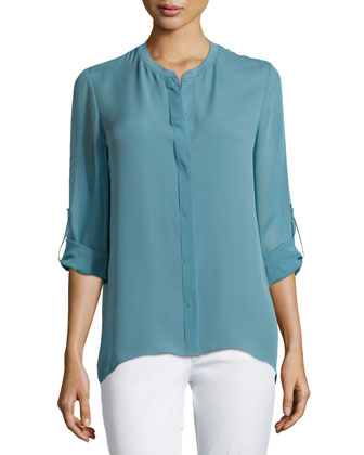 Alejandra Lightweight Tab-Sleeve Blouse, Dew