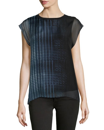 Jalessa Graphic-Print Cap-Sleeve Blouse, Black/Multi