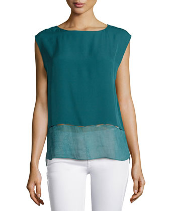 Asher Contrast-Trim Sleeveless Blouse, Soft Jade