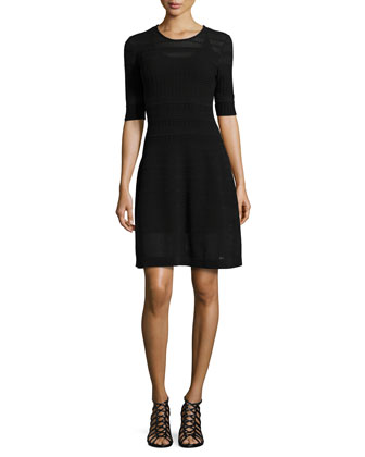 Textured-Knit Fit-and-Flare Dress, Black