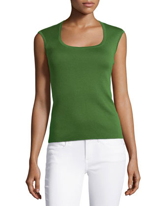 Cashmere Cap-Sleeve Top, Grass
