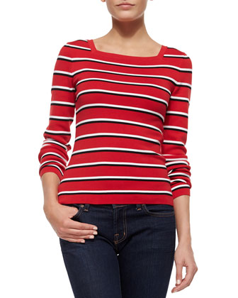 Long-Sleeve Stripe Top, Crimson Multi