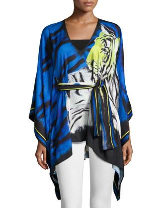 Tiger-Print Tie-Waist Caftan, Blue