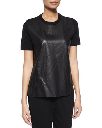 Short-Sleeve Combo Top, Black