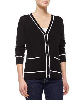 Two-Tone Long-Sleeve Cardigan, Black/White