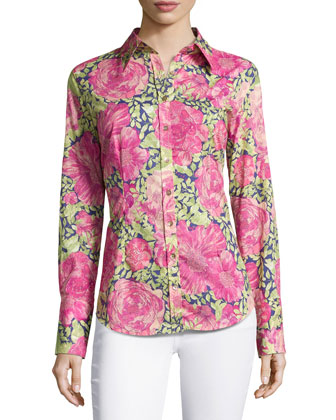 Long-Sleeve Hibiscus-Print Blouse, Rose/Green