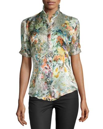 Ruffle-Neck Silk Floral/Lace-Print Blouse