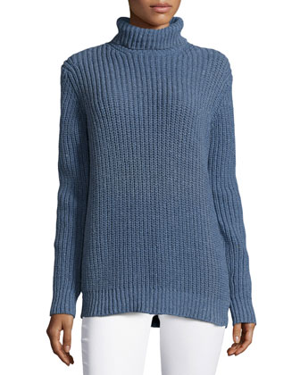 Shaker Long-Sleeve Sweater, Chambray