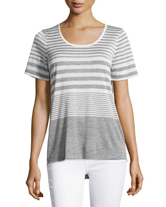 Variegated-Stripe Tee, Off White/Gray