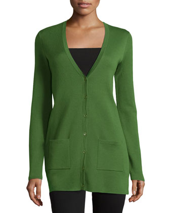 Cashmere Long-Sleeve Cardigan, Grass