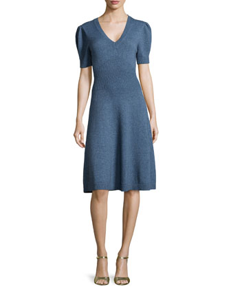 Puff-Sleeve Fit-&-Flare Dress, Chambray