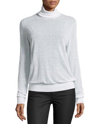 Long-Sleeve Blouson Top, White