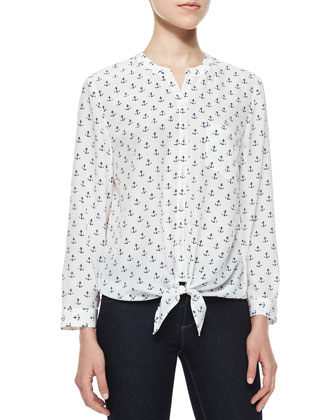Edaline B Anchor-Print Silk Blouse