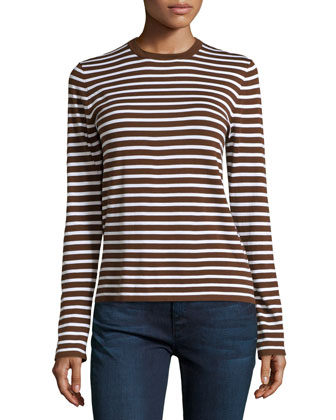 Long-Sleeve Striped Top, Nutmeg/White