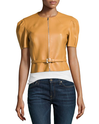 Puffed-Sleeve Cropped Leather Jacket with Belt, Peanut