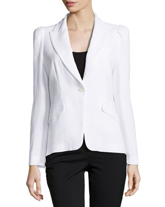 Long-Sleeve Jacket with Puffed Shoulders, Optic White