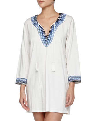 Ashvini Printed-Trim Cotton Tunic/Dress