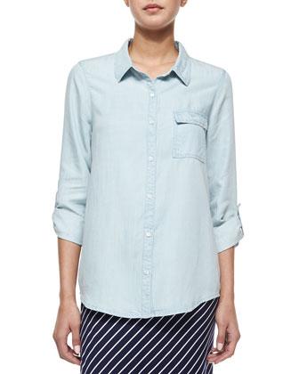 Onyx Chambray Button-Down Shirt & Maribel Striped Tie-Waist Maxi Dress