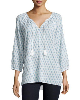 Lianna Printed Tie-Neck Blouse
