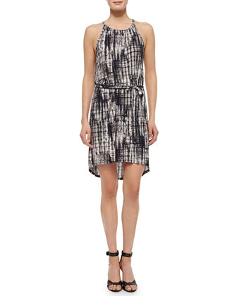 Godfrey Printed Halter Dress, Caviar