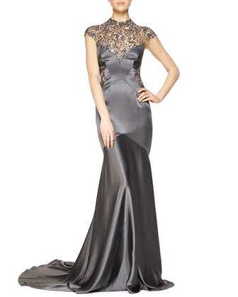Sheer-Back Beaded Satin Gown