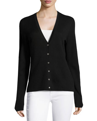 Long-Sleeve Cardigan, Black