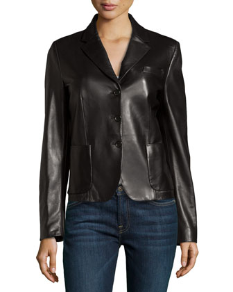 Long-Sleeve Leather Jacket, Black