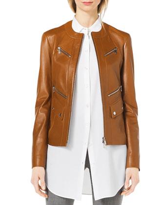 Leather Moto Zip-Front Jacket