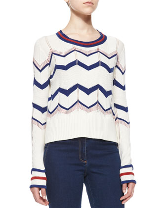 Kindling Cotton Chevron Pullover & High-Waist Flared Denim Pants