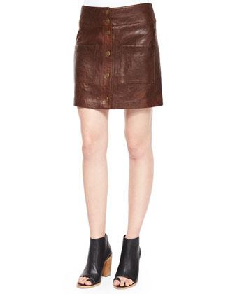 Patrol Cargo Leather Mini Skirt