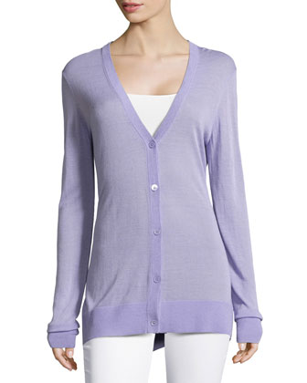 Long-Sleeve Knit Cardigan, Lavender
