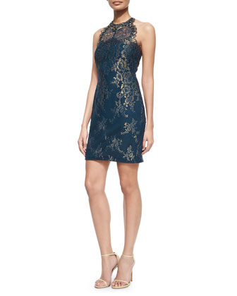 Jewel-Neck Metallic Lace Racerback Cocktail Dress