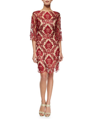 3/4-Sleeve Lace Cocktail Sheath Dress