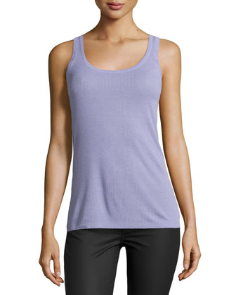 Scoop-Neck Ribbed Tank Top, Lavender