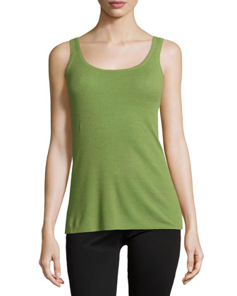 Scoop-Neck Ribbed Tank Top, Foliage