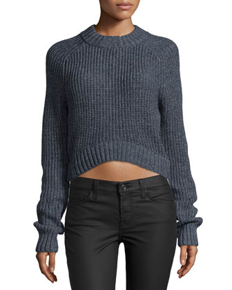 Long-Sleeve Cropped Shaker Sweater, Indigo