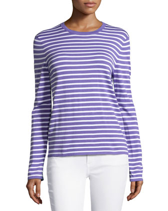 Long-Sleeve Striped Top, Hyacinth/White
