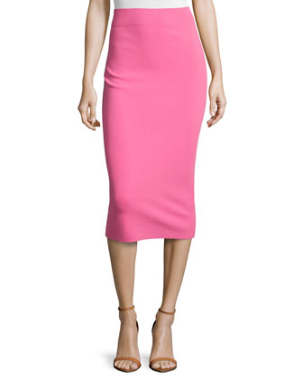 Fitted Knit Tube Skirt, Carnation