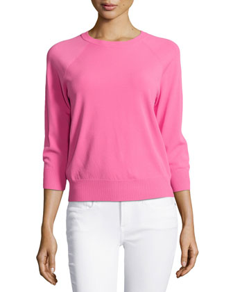 3/4-Sleeve Knit Top, Carnation