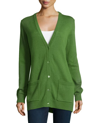 Button-Front Boyfriend Cardigan, Grass