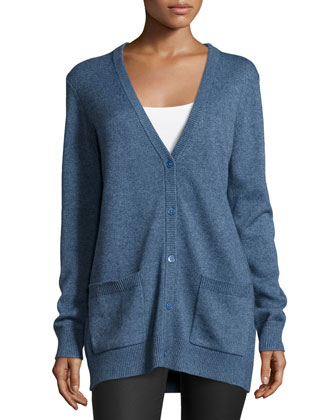 Button-Front Boyfriend Cardigan, Chambray Melange