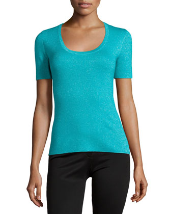 Short-Sleeve Metallic Top, Aqua/Silver