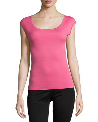 Cap-Sleeve Fitted Cashmere Shell, Carnation
